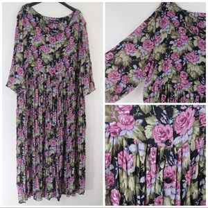 Vintage 90s Babydoll Floral Dress Pleats Oversized